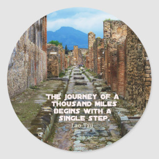Lao Tzu JOURNEY travel quote Round Sticker