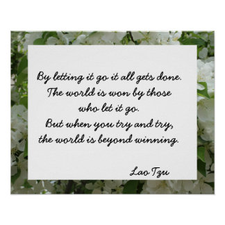 Lao Tzu Letting Go Quote Inspirational Poster