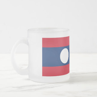 Laos Flag Frosted Glass Coffee Mug