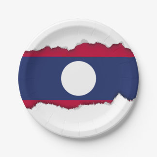 Laos Flag Paper Plate