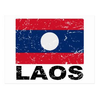 Laos Vintage Flag Postcard