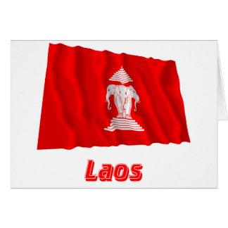 Laos Waving Flag with Name (1952-1975) Card