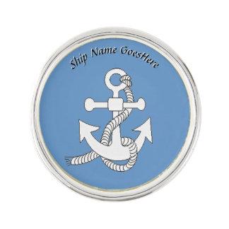 Lapel Pin - Anchor with Ship Name
