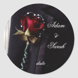 Lapel Rose Save the date Classic Round Sticker