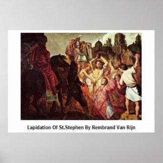 Lapidation Of St.Stephen By Rembrand Van Rijn Print