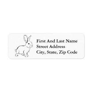 Lapin adorable de bande dessinée douce de lapin étiquette d'adresse retour