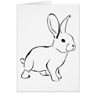 Lapin adorable de bande dessinée douce de lapin carte de vœux