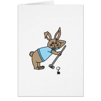 Lapin de golfeur carte de vœux