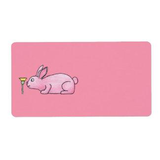 Lapin de lapin rose étiquette d'expédition