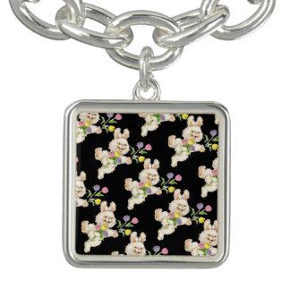 Lapin de Pâques avec la bande dessinée de fleurs Bracelets