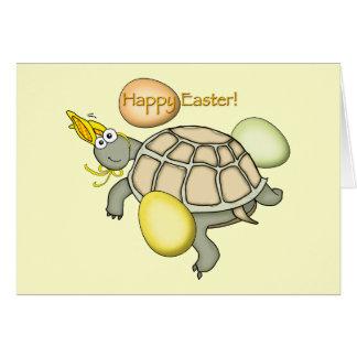 Lapin de Pâques de tortue de bande dessinée Carte De Vœux