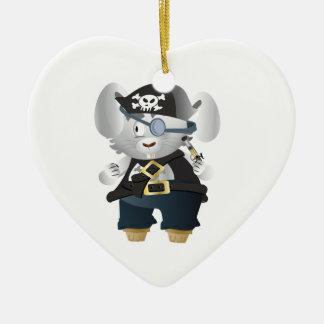 Lapin de pirate ornement cœur en céramique