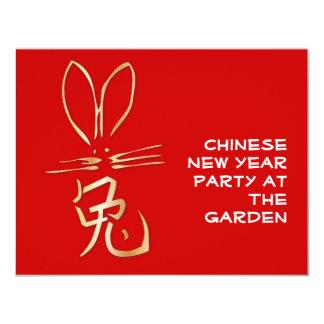 Lapin d'or avec le caractère chinois faire-parts