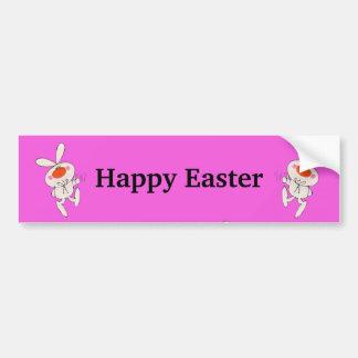 Lapin mignon heureux de danse de Pâques Autocollant De Voiture