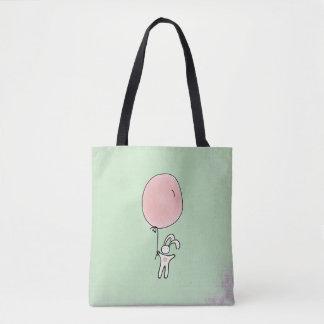 Lapin mignon tenant un ballon tote bag