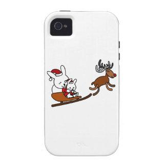 Lapins de Noël de bande dessinée en pilotant Coques iPhone 4/4S