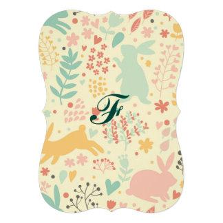 lapins, nature, couleurs de ressort, Pâques, Carton D'invitation 12,7 Cm X 17,78 Cm
