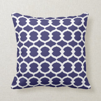 Lapis Blue and White Abstract Chain Pattern Pillow