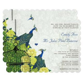 Lapis Blue and Yellow Peacock Birdcage Invite