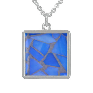 Lapis Blue Stained Glass Mosaic Sterling Silver Necklace