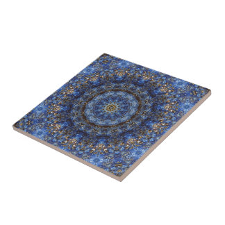 Lapis Lazuli Laminate Mandala Tile