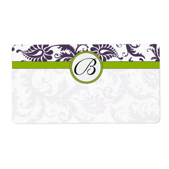 Lapis Purple & Apple Green Damask Wedding Labels