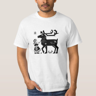 Lapland Girl Holds Reindeer Value T Shirt