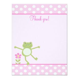 L'appartement Girly de Froggy de grenouille rose Carton D'invitation 10,79 Cm X 13,97 Cm