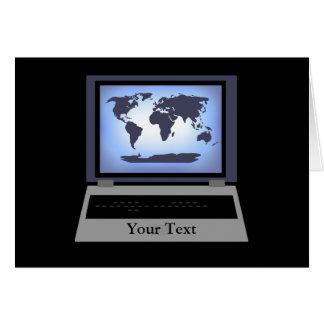 Laptop Computer World Map Greeting Card 2