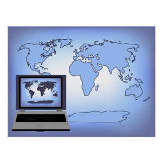 Laptop Computer World Map Print Poster