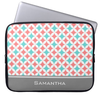 Laptop Coral Teal Grey Custom Name Laptop Sleeve