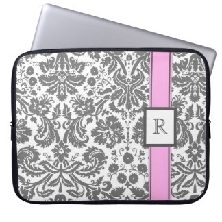 Laptop Custom Monogram Grey Pink Floral Damask Laptop Sleeve