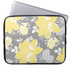 Laptop Lemon Grey Floral Pattern Laptop Sleeve