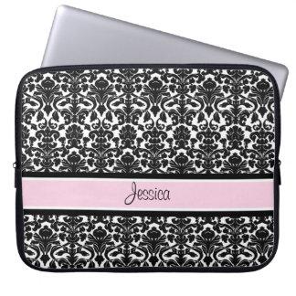 Laptop Pink Damask Custom Name Laptop Sleeve