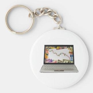 Laptop showing bear market chart keychain