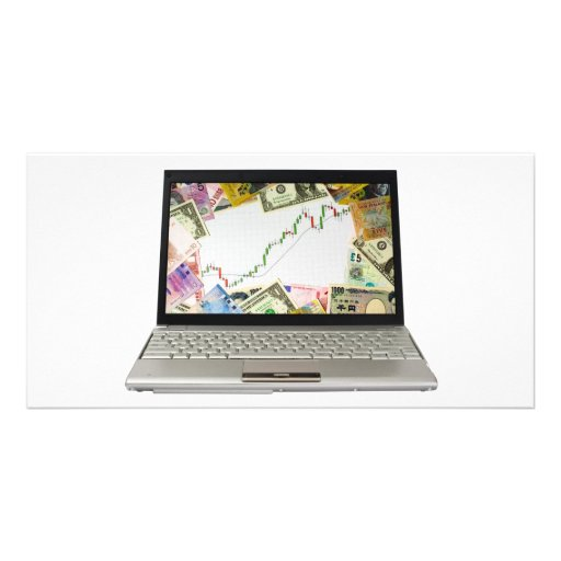 Laptop showing bull market chart photo cards