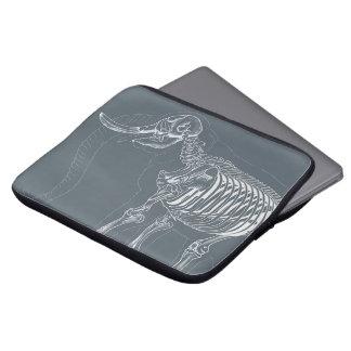 Laptop sleeve with elephant skeleton design