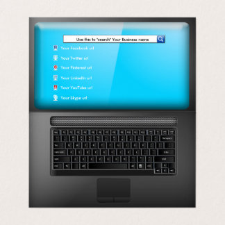 Laptop with Screen and Social Media Icons Card
