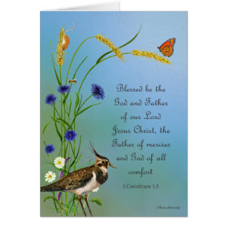 Lapwing Bird Meadow Watercolor Butterfly Card