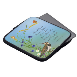Lapwing Bird Meadow Watercolor Butterfly Laptop Sleeve