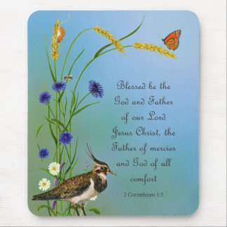 Lapwing Bird Meadow Watercolor Butterfly Mouse Pad