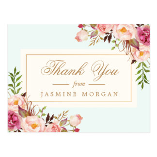 L'aquarelle chic élégante fleurit le Merci Carte Postale