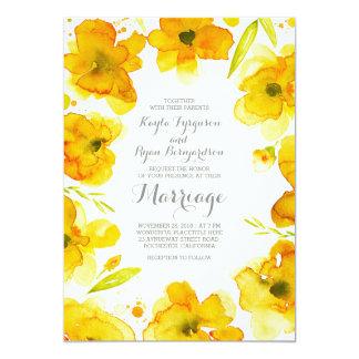 l'aquarelle jaune fleurit le mariage élégant carton d'invitation  12,7 cm x 17,78 cm