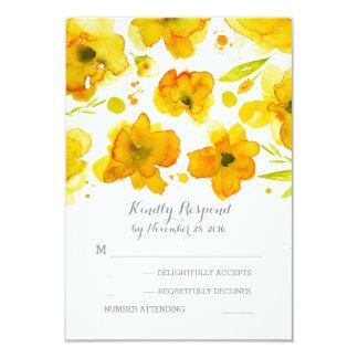 l'aquarelle jaune fleurit RSVP l'épousant Carton D'invitation 8,89 Cm X 12,70 Cm