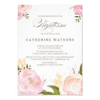 L'aquarelle romantique fleurit l'invitation de carton d'invitation  12,7 cm x 17,78 cm