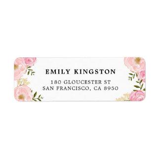 L'aquarelle rougissent étiquette de adresse rose