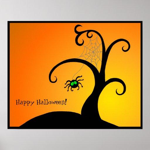 L'arbre Halloween d'araignée Affiches
