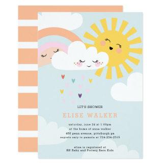 L'arc-en-ciel arrose l'invitation de baby shower carton d'invitation  12,7 cm x 17,78 cm