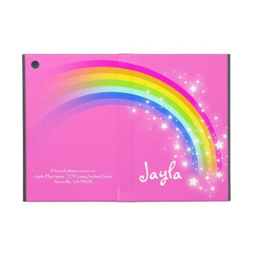L'arc-en-ciel badine cas de powis d'ipad rose nomm coque iPad mini