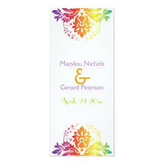 L'arc-en-ciel colore la carte de programme de carton d'invitation  10,16 cm x 23,49 cm